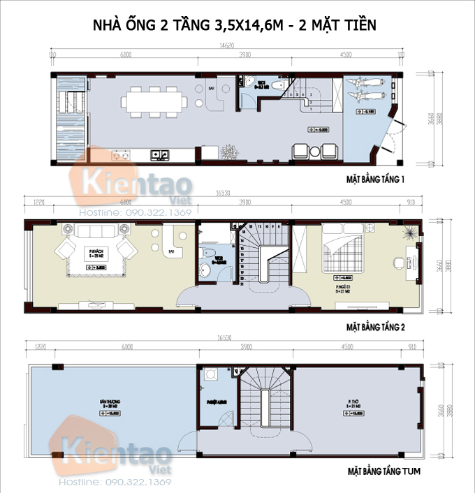 Mẫu bản vẽ nhà phố 2 tầng mặt tiền 3m 4m 5m - Nhà ống diện tích 3,5x14,6m
