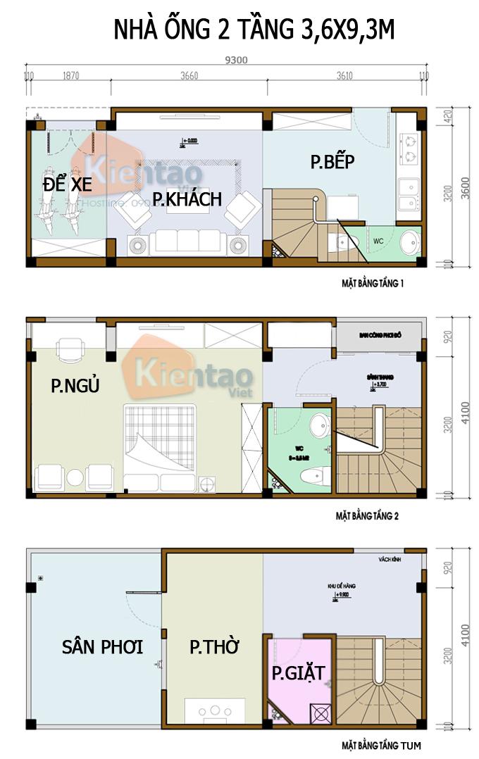 Mẫu bản vẽ nhà phố 2 tầng mặt tiền 3m 4m 5m - Nhà ống diện tích 3,6x9,3m
