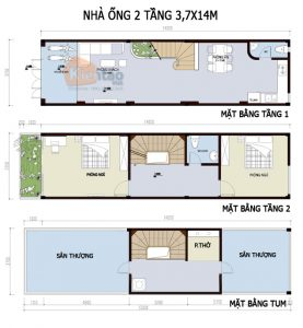 26 Bản vẽ mặt bằng nhà phố 2 tầng - Mẫu nhà ống diện tích 3,7x14m