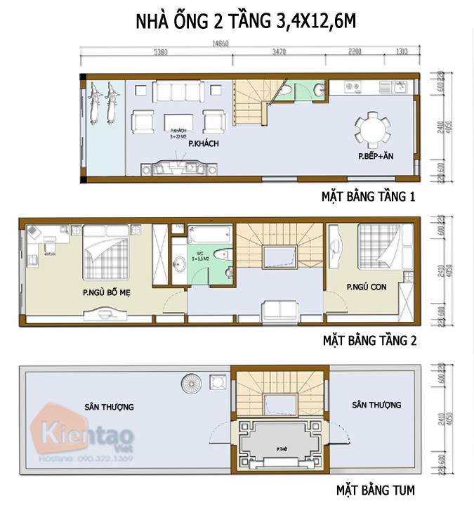 Mẫu bản vẽ nhà phố 2 tầng mặt tiền 3m 4m 5m - Nhà ống diện tích 3,4x12,6m