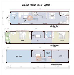 26 Bản vẽ mặt bằng nhà phố 2 tầng - Mẫu nhà ống diện tích 3x14m
