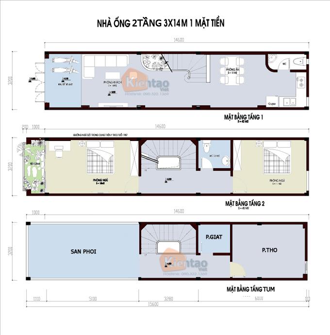 Mẫu bản vẽ nhà phố 2 tầng mặt tiền 3m 4m 5m - Nhà ống diện tích 3x14m