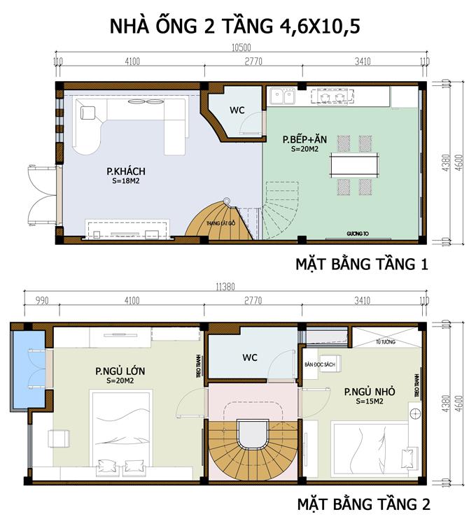 Mẫu bản vẽ nhà phố 2 tầng mặt tiền 3m 4m 5m - Nhà ống diện tích 4,5x10m