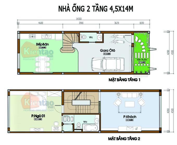 Mẫu bản vẽ nhà phố 2 tầng mặt tiền 3m 4m 5m - Nhà ống diện tích 4,5x14m