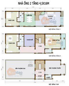 26 Bản vẽ mặt bằng nhà phố 2 tầng - Mẫu nhà ống diện tích 4,5x15m