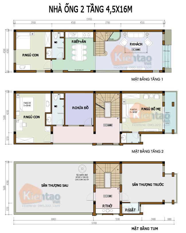 Mẫu bản vẽ nhà phố 2 tầng mặt tiền 3m 4m 5m - Nhà ống diện tích 4,5x16m