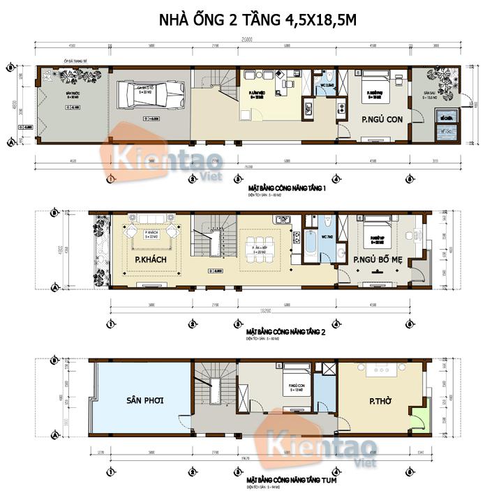 Mẫu bản vẽ nhà phố 2 tầng mặt tiền 3m 4m 5m - Nhà ống diện tích 4,5x18,5m