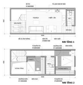 26 Bản vẽ mặt bằng nhà phố 2 tầng - Mẫu nhà ống diện tích 4x10m