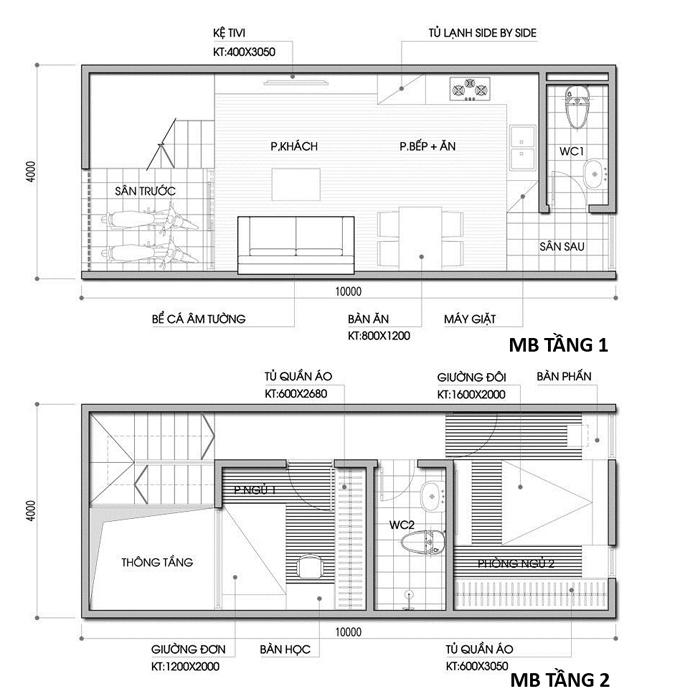 Mẫu bản vẽ nhà phố 2 tầng mặt tiền 3m 4m 5m - Nhà ống diện tích 4x10m