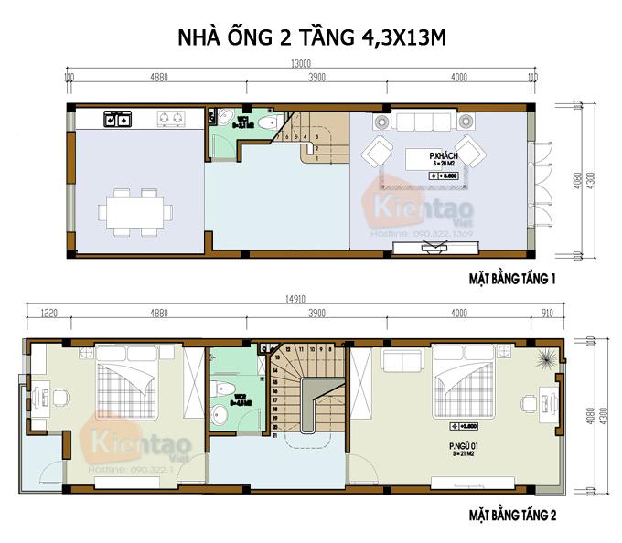 Mẫu bản vẽ nhà phố 2 tầng mặt tiền 3m 4m 5m - Nhà ống diện tích 4,3x13m