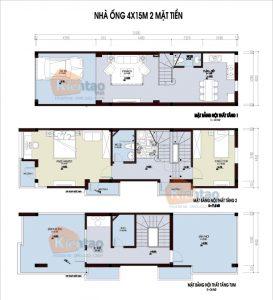 26 Bản vẽ mặt bằng nhà phố 2 tầng - Mẫu nhà ống diện tích 4x14m