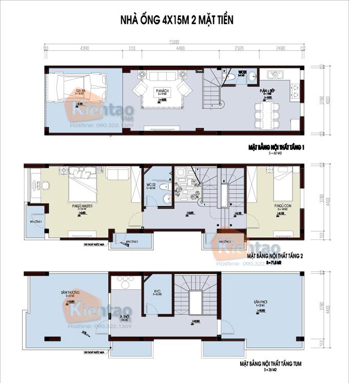 Mẫu bản vẽ nhà phố 2 tầng mặt tiền 3m 4m 5m - Nhà ống diện tích 4x15m 2 mặt tiền