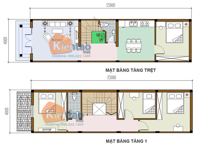 Mẫu bản vẽ nhà phố 2 tầng mặt tiền 3m 4m 5m - Nhà ống diện tích 4x15m 1 mặt tiền