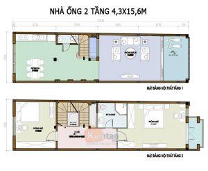 26 Bản vẽ mặt bằng nhà phố 2 tầng - Mẫu nhà ống diện tích 4x16m