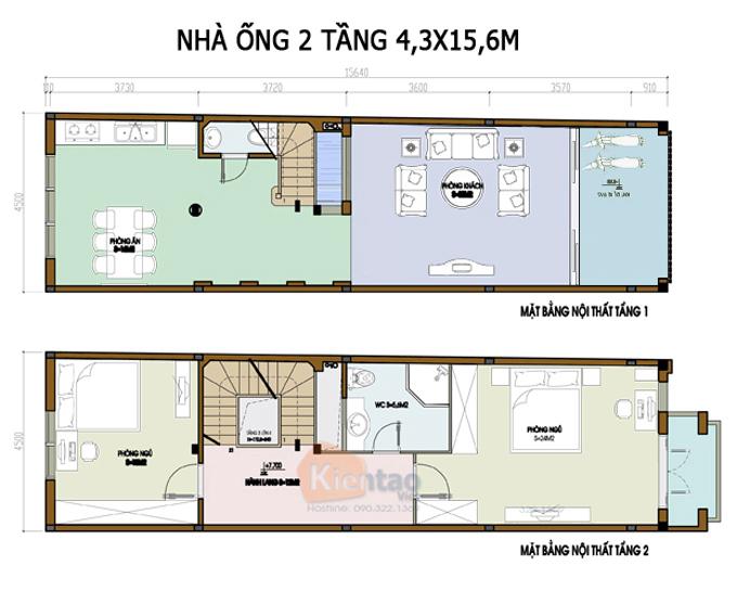 Mẫu bản vẽ nhà phố 2 tầng mặt tiền 3m 4m 5m - Nhà ống diện tích 4,3x15,6m