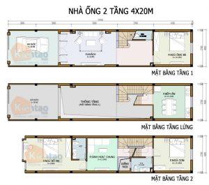 26 Bản vẽ mặt bằng nhà phố 2 tầng - Mẫu nhà ống diện tích 4x20m