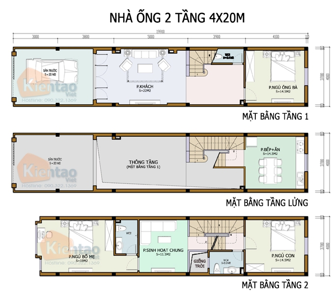 Mẫu bản vẽ nhà phố 2 tầng mặt tiền 3m 4m 5m - Nhà ống diện tích 4x20m