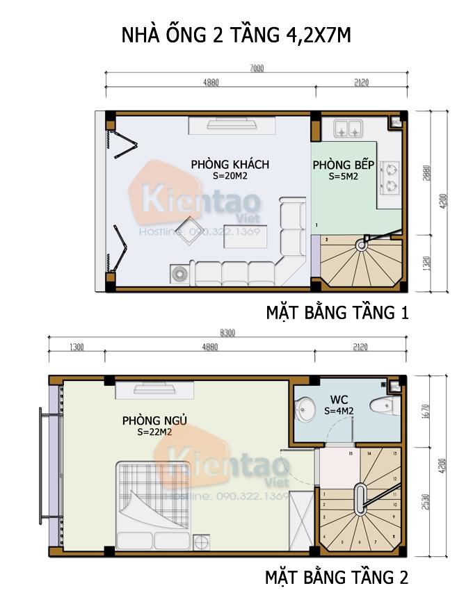 Mẫu bản vẽ nhà phố 2 tầng mặt tiền 3m 4m 5m - Nhà ống diện tích 4,2x7m