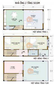 26 Bản vẽ mặt bằng nhà phố 2 tầng - Mẫu nhà ống diện tích 5x10m