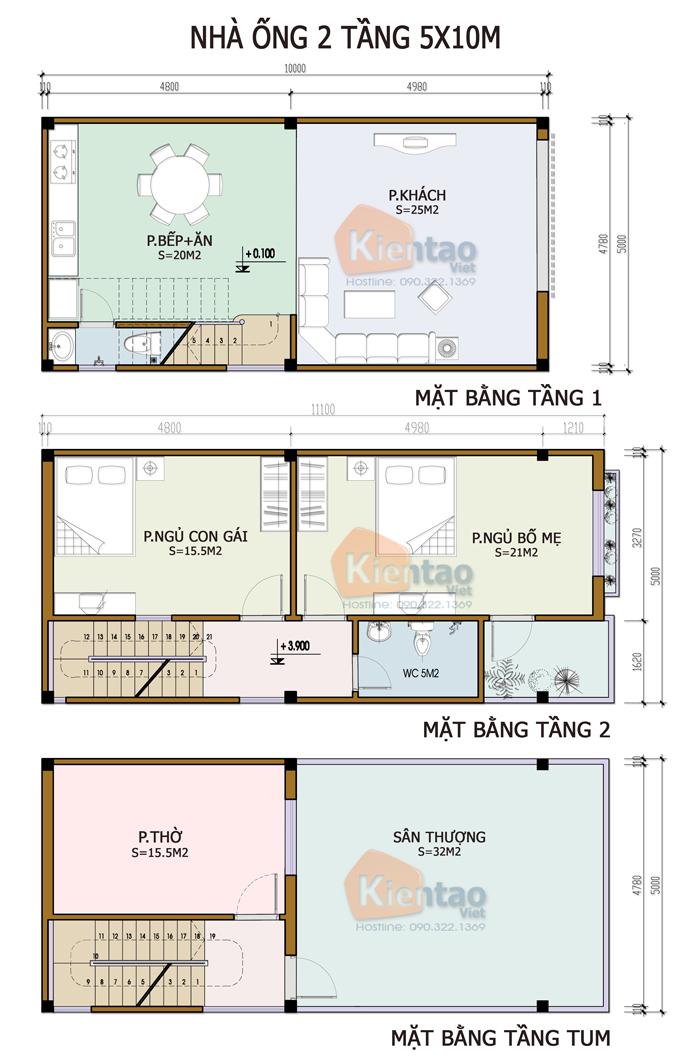 Mẫu bản vẽ nhà phố 2 tầng mặt tiền 3m 4m 5m - Nhà ống diện tích 5x10m