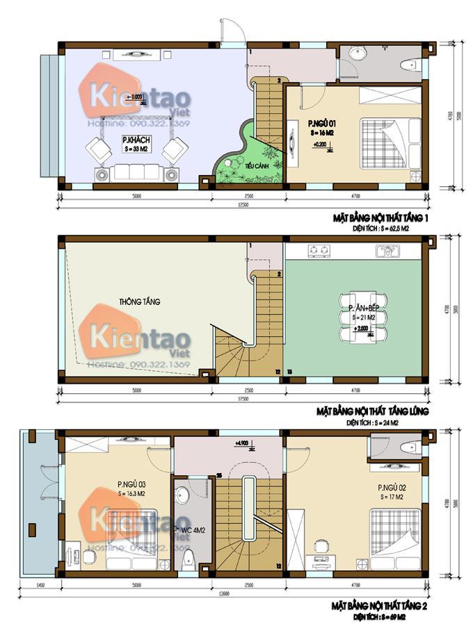 Mẫu bản vẽ nhà phố 2 tầng mặt tiền 3m 4m 5m - Nhà ống diện tích 5x12m