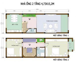 26 Bản vẽ mặt bằng nhà phố 2 tầng - Mẫu nhà ống diện tích 5x15m