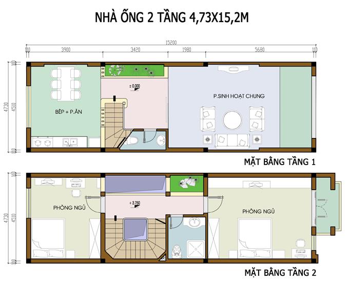 Mẫu bản vẽ nhà phố 2 tầng mặt tiền 3m 4m 5m - Nhà ống diện tích 4,7x15m