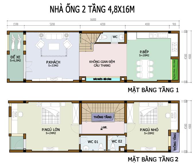 Mẫu bản vẽ nhà phố 2 tầng mặt tiền 3m 4m 5m - Nhà ống diện tích 4,8x16m