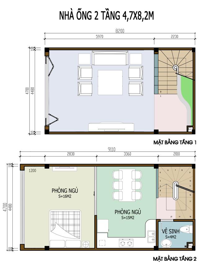 Mẫu bản vẽ nhà phố 2 tầng mặt tiền 3m 4m 5m - Nhà ống diện tích 4,7x8,2m