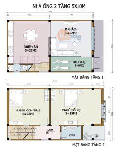 26 Bản vẽ mặt bằng nhà phố 2 tầng - Mẫu nhà ống diện tích 6x10m