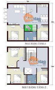 26 Bản vẽ mặt bằng nhà phố 2 tầng - Mẫu nhà ống diện tích 6x8m
