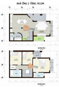 26 Bản vẽ mặt bằng nhà phố 2 tầng - Mẫu nhà ống diện tích 7x13m