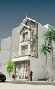 Phối cảnh góc mẫu thiết kế nhà phố mặt tiền 5m mái dốc cao 3,5 tầng