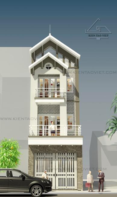 Phối cảnh chính diện mẫu thiết kế nhà phố mặt tiền 5m mái dốc cao 3,5 tầng