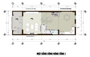 Mặt bằng tầng 1 mẫu thiết kế nhà phố mặt tiền 5m mái dốc cao 3,5 tầng