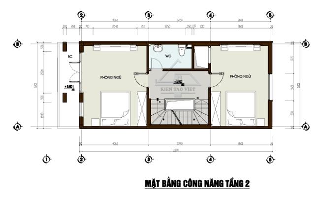 Mặt bằng tầng 2 mẫu thiết kế nhà phố mặt tiền 5m mái dốc cao 3,5 tầng