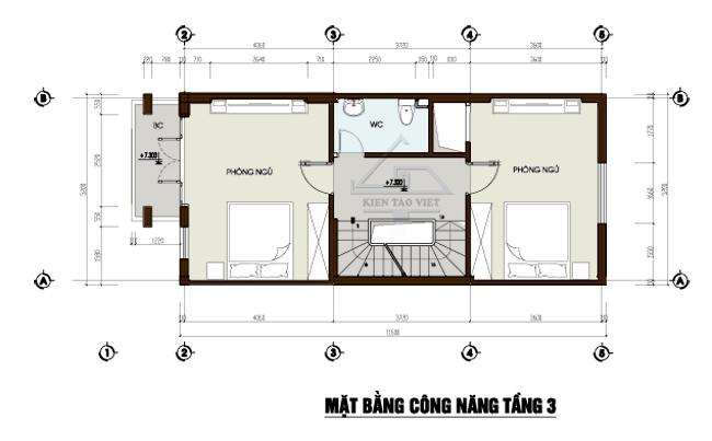 Mặt bằng tầng 3 mẫu thiết kế nhà phố mặt tiền 5m mái dốc cao 3,5 tầng