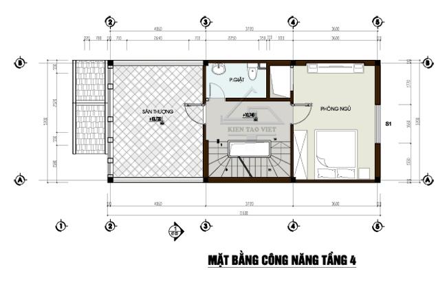 Mặt bằng tầng tum mẫu thiết kế nhà phố mặt tiền 5m mái dốc cao 3,5 tầng