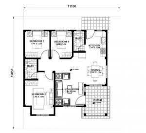 Thiết kế mẫu nhà cấp 4 đẹp 3 phòng ngủ diện tích 11x12m - 04
