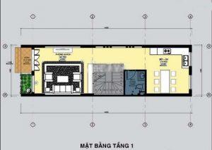 Thiết kế mẫu nhà ống đẹp 3 tầng rộng 4x15m 3 phòng ngủ kiểu hiện đại - Mặt bằng tầng 1