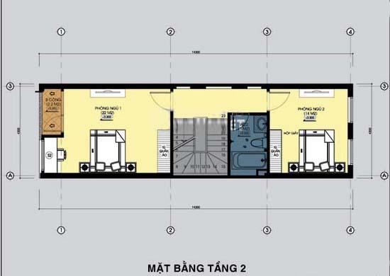 Thiết kế mẫu nhà ống đẹp 3 tầng rộng 4x15m 3 phòng ngủ kiểu hiện đại - Mặt bằng tầng 2