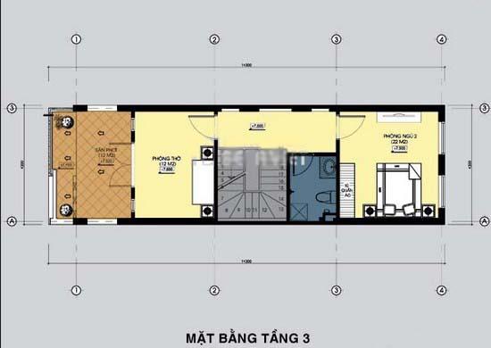 Thiết kế mẫu nhà ống đẹp 3 tầng rộng 4x15m 3 phòng ngủ kiểu hiện đại - Mặt bằng tầng 3