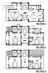 Mặt bằng công năng - Mẫu thiết kế biệt thự đẹp hiện đại 3 tầng 115m2 đáng chú ý