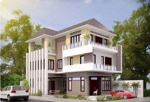 Phối cảnh kiến trúc của mẫu thiết kế biệt thự 3 tầng 10x20m hiện đại