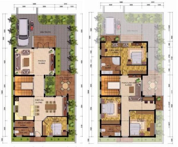 Mặt bằng công năng của mẫu thiết kế biệt thự 3 tầng 10x20m hiện đại