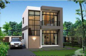 Thiết kế nhà biệt thự đẹp kiểu đơn giản rộng 6x8m cao 2 tầng mới nhất - Phối cảnh