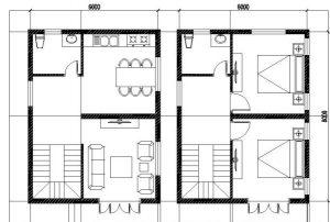 Thiết kế nhà biệt thự đẹp kiểu đơn giản rộng 6x8m cao 2 tầng mới nhất - Mặt bằng tầng 1+2