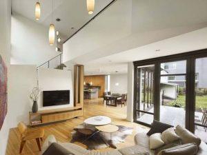 Không gian phòng khách - Thiết kế nhà đẹp biệt thự lắp ghép thông minh cao 2 tầng