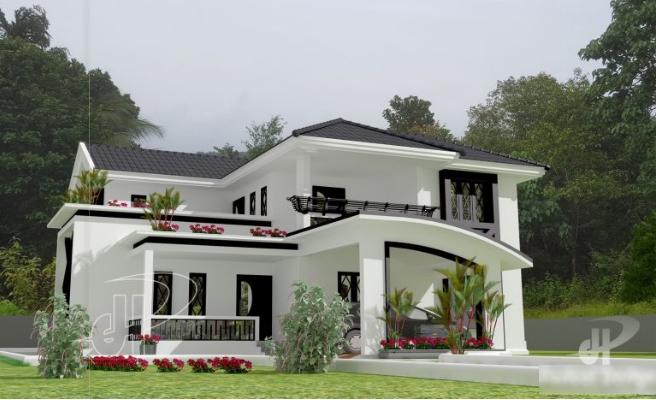 Biệt thự đẹp 2 tầng hiện đại có hình dáng mái lạ mắt và chi phí thấp-01