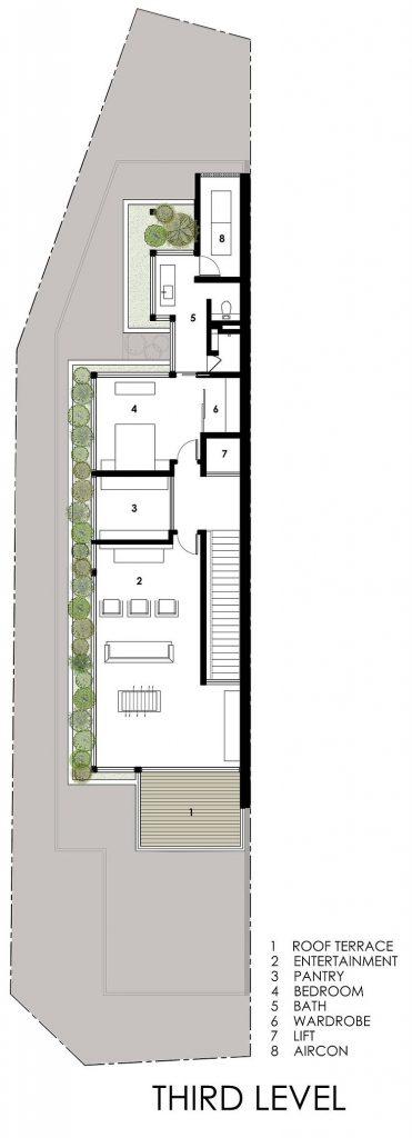 Nhà biệt thự phố hiện đại trên khu đất dài và méo-10